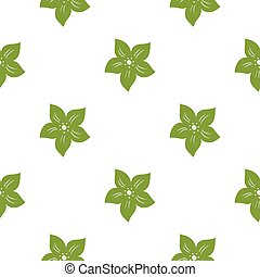 Isolated tropic flowers silhouettes seamless pattern in doodle style. Green ornament on white background.