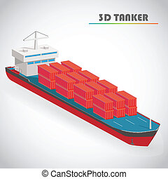 Isometric tanker with freight container icon vector illustration