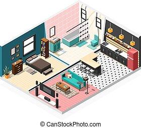Isometric Apartment Interior Background