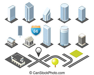 Downtown Isometric Map toolkit with Buildings and Roads
