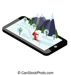 Isometric Santa Claus skiing. Santa Cross country mobile navigation helps Santa to deliver gifts. Christmas and New Year is coming. Cross country skiing, winter sport