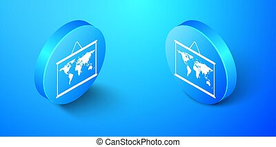 Isometric World map on a school blackboard icon isolated on blue background. Drawing of map on chalkboard. Blue circle button. Vector