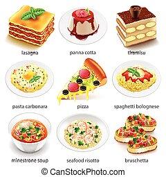 Italian food icons detailed photo realistic vector set