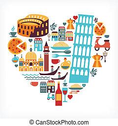 Italy love - heart shape with many icons