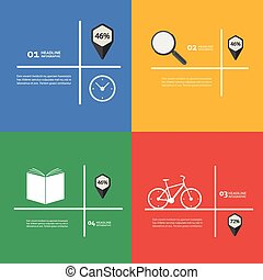 Items for infographics bike, book, clock, magnifier