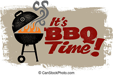A vintage style barbeque grill graphic.