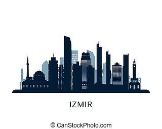 Izmir skyline, monochrome silhouette.