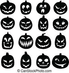 A set of 16 hand drawn jack o lantern silhouettes.