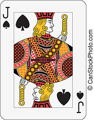 Jack of spades playing card (decorations in a separate level in vector file, so you can easily edit or change it)