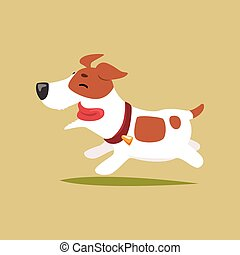 Jack russell puppy character running, cute funny terrier vector illustration