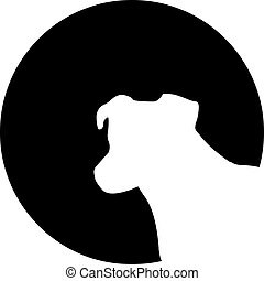 Jack Russell Terrier head in front of the moon