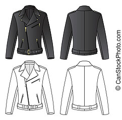 Outline black-white jacket vector illustration isolated on white. EPS8 file available. You can change the color or you can add your logo easily.