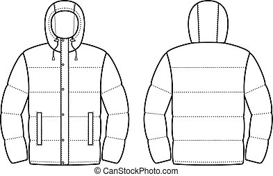 Vector illustration of winter jacket. Front and back views