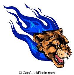 Jaguar head with Flame Tattoo vector illustration
