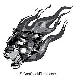 Jaguar head with Flame Tattoo vector monochromatic illustration