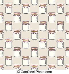Jam bottle fruit vector seamless pattern isolated wallpaper background pink