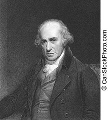 James Watt (1736-1819) on engraving from the 1850s. Scottish inventor and mechanical engineer. Engraved by C.E. Wagstaff and published in London by Charles Knight, Pall Mall East.