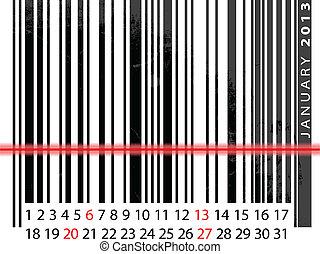 JANUARY 2013 Calendar, Barcode Design. vector illustration