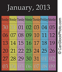 Jahuary, 2013 - calendar on specific color backround for each day of the week