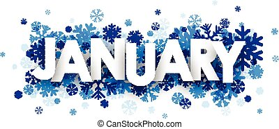 January sign with snowflakes. Vector illustration.