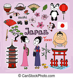 Japan landmarks and cultural icons vector set with Geisha girls Torii Gates sumo wrestler fans panda paper lantern bonsai cherry blossom koi bamboo tea and rice
