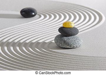 Japan zen garden with stones