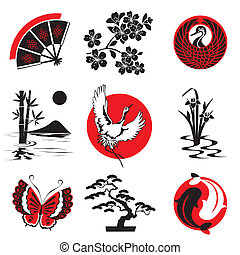 vector design elements in the Japanese style