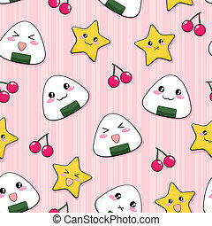 seamless pattern with cute japanese rice balls
