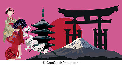 Illustration with Geisha, Japanese Pagoda and Torii Gate Silhouette