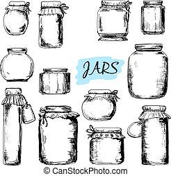 Jars. Set of hand drawn illustrations