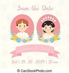 Java Indonesia Wedding Couple Face Invitation