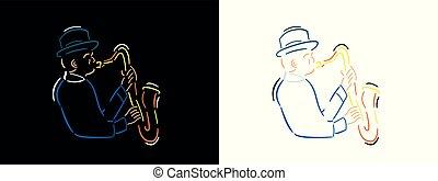 Jazz musician illustration in line art style on black background and white background. Jazzman color vector line art illustration.