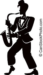 Jazz musician with saxophone black silhouette vector illustration. Retro style male person in cool pose. Man playing musical instrument 2d cartoon character shape for commercial, animation, printing