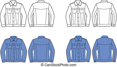 Vector illustration of men's and women's jeans jacket. Front and back views