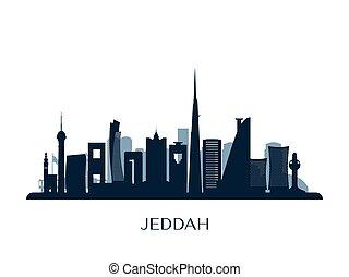 Jeddah skyline, monochrome silhouette.