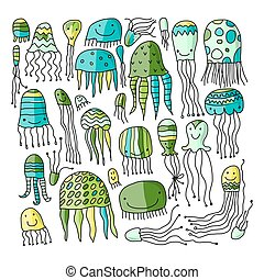 Jellyfish collection, sketch for your design