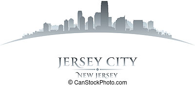Jersey city New Jersey skyline silhouette white background