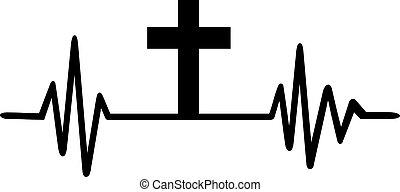 Jesus heartbeat line with cross