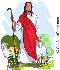 I am the good shepherd giving the life for the sheep (John 10:11) No gradients. Various components are grouped separately