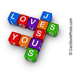 Jesus loves you multicolor symbol