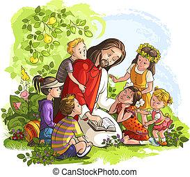 Jesus reading Bible with Children