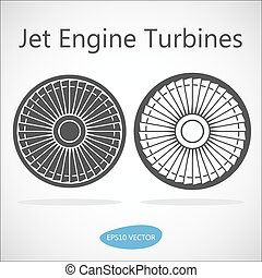 Jet Engine Turbine Front View - Isolated Vector Stock Illustration