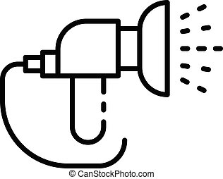 Jet hose irrigation icon, outline style