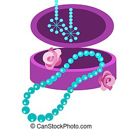 jewelery box with earring and necklace, vector illustration