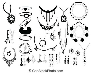 jewelry on white background