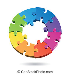 Vector illustration of a jigsaw puzzle circle
