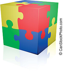 detailed illustration of colorful a jigsaw puzzle cube, eps8 vector