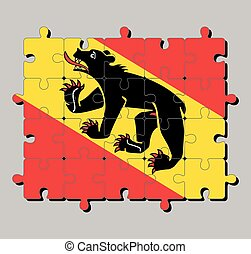 Jigsaw puzzle of Bern flag. The canton of Switzerland Confederation.