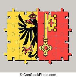 Jigsaw puzzle of Geneva flag. The canton of Switzerland Confederation.