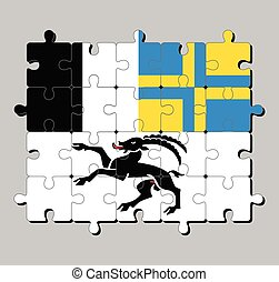 Jigsaw puzzle of Graubunden flag. The canton of Switzerland Confederation.